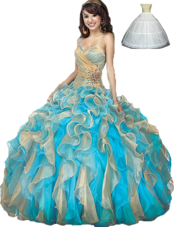 Zhu Li Ya Women's Ball Gowns Organza Quinceanera Dresses Prom Gowns