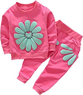 Baby Girls Sunflower sudadera manga larga + pantalones conjunto de trajes de chándal