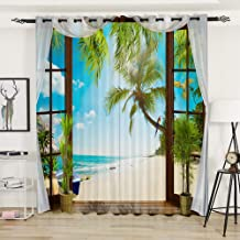 AiiHome Beach Curtains, 3D Printed Blackout Curtains with Wooden Window and Tropical Coconut Tree Beach Patterns, Grommet Curtains for Living Room Bedroom, 2 Panels, 52 X 96 Inch, Blue