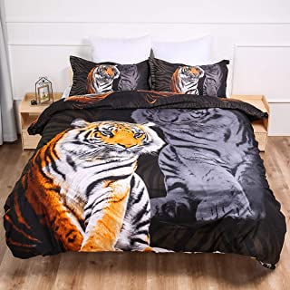 Guidear 3D Printed Yellow Tiger Bedding Set for Boys Kids, 3 Pieces White Tiger Duvet Cover with 2 Pillowcases,Microfiber Black Comforter Cover with Zipper Closure Queen Size 90