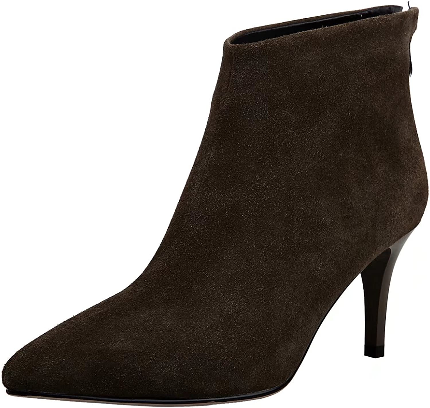 AIYOUMEI Women's Back Zipper Pointed Toe Booties Autumn Winter Ankle Boots