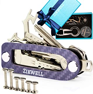 Compact Key Holder Keychain Organizer | Smart Key Organizer Keychain Holder | Smart Key Holder Organizer up to 14 Keys - Carbon Fiber with Multitool, Carabiner, Great Gift Box by Zikwell