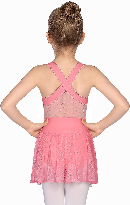 Zaclotre Girls Choice Ballet Leotards Some reservation Cross Skirte Sleeveless Lace Back