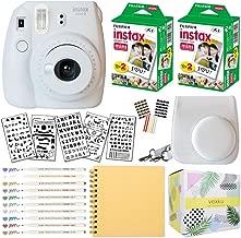 Fujifilm Instax Mini 9 Instant Camera (Smokey White) + Fuji INSTAX Film (40 Sheets) + Bundle with: Groovy Camera Case + Scrapbook Photo Album + Stencils + Metallic Markers + Photo Corners