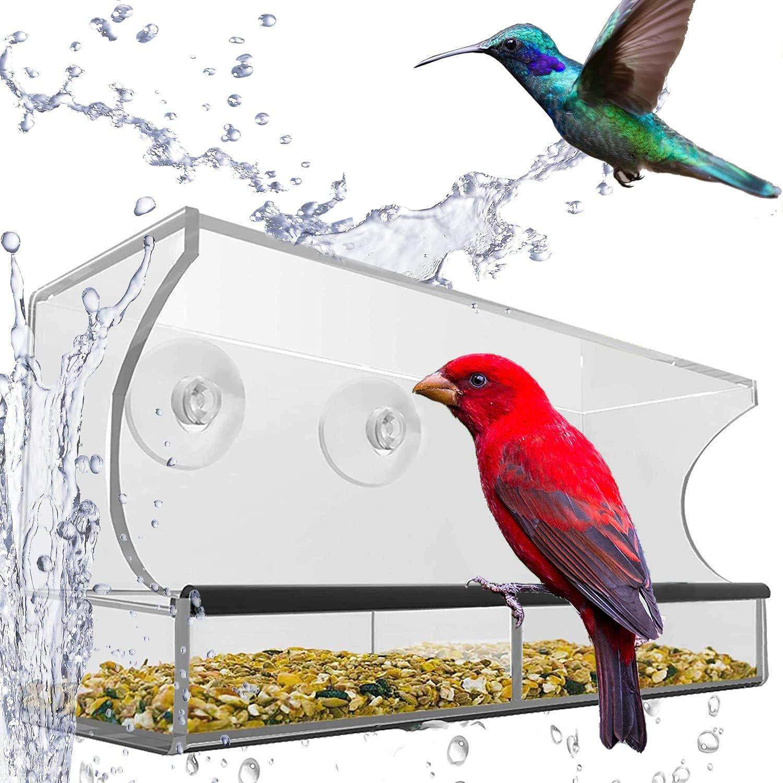Wefash Big famous Window Bird Feeder for with Seed Regular dealer T Outside Waterproof