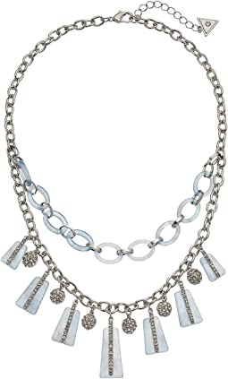 Lucite and Chain Link with Drops Necklace