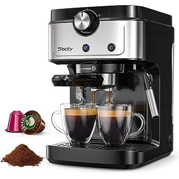 Cafetera Espresso Sboly, Cafetera 2 en 1 para Nespresso Compatible con Café Molido y en Cápsulas, Máquina de Espresso de 19 Bares con Tanque de Agua Removible y Boquilla de Vapor: Amazon.es: Hogar