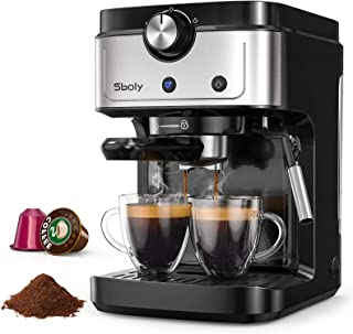 Cafetera Espresso Sboly, Cafetera 2 en 1 para Nespresso Compatible con Café Molido y en Cápsulas, Máquina de Espresso de 1...