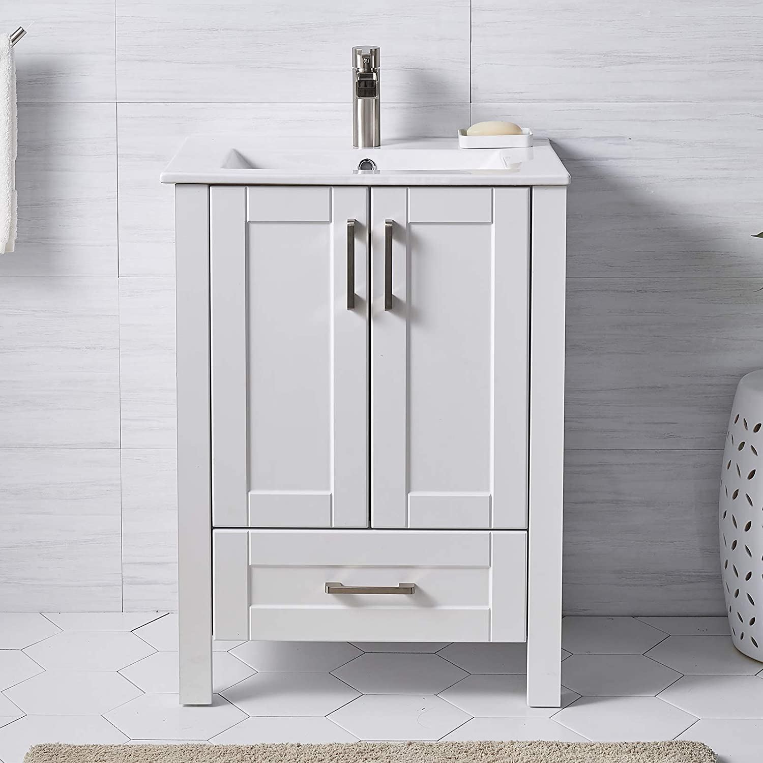 Buy Modern Small Bathroom Vanity 24 Inch 2 Doors White Bathroom Cabinet Set With Sink Combo Wood Storage Cabinet With Single Hole Undermount Ceramic Sink Online In Vietnam B097bf2frz