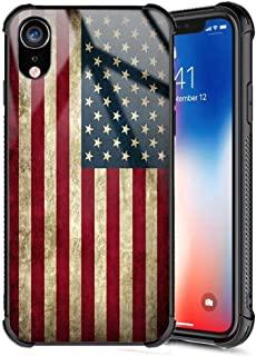 Xanadu iPhone XR Case,Rossy Retro Vintage Old USA American Flag Design Tempered Glass Black Cover and Soft Silicone TPU Bumper Shock Absorption Anti-Slip Case for iPhone XR