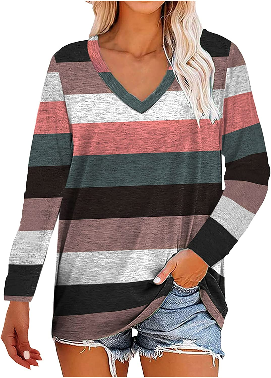 Womens Casual V Neck Sweatshirts Loose Fit Oversized T Shirts Blouses Color Block Striped Long Sleeve Tunic Tops