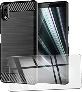 QFSM Funda + Cristal Templado para Sony Xperia L3 Silicona Carcasa TPU Anti-Knock Fibra de Carbono Cover Case, HD Película Protectora Cristal Templado Pantalla Glass