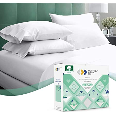 Top Bedding Sheet Set-Fitted//Flat//Bed Skirt 1000TC Egyptian Cotton White Striped