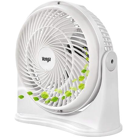 Venga! VG VT 3003 Ventilateur de bureau à 3lames et 3vitesses, 20cm, 30W, Blanc