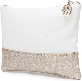 Glitter Reinforced Cotton Canvas Purse Cosmteic Bag Organizer Carry On Case Makeup Pouch Gold