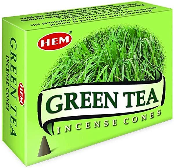 Green Tea Case Of 12 Boxes 10 Cones Each HEM Incense From India