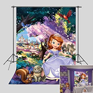 Princess Sofia Photography Backdrop Happy 1st Birthday Party Decorations for Baby Girl Vinyl Fairy Tale Forest Baby Shower Photo Background 3x5ft Photo Booth Studio Props Cake Table