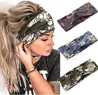 Catery Boho Headbands Criss Cross Headband Headpiece Bohemia Floal Twist Head Wrap Hair Band Vintage Stylish Elastic Turban Fabric Hairbands Fashion Hair Accessories for Women(Pack of 3) (Boho)