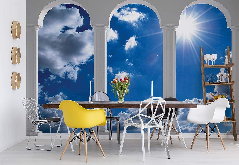 Wallsticker Warehouse Sky Blau Säulen Arches Fototapete Fototapete Fototapete - Tapete - Fotomural - Mural Wandbild - (2348WM) - XXL - 312cm x 219cm - VLIES (EasyInstall) - 3 Pieces B01KLJPVTY 400e67