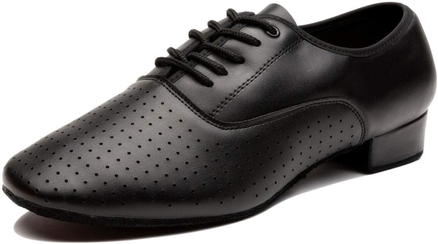 NLeahershoe Breathable Lace-up Dancing Leather Latin shoes for Men Salsa, Tango,Ballroom,Viennese Waltz