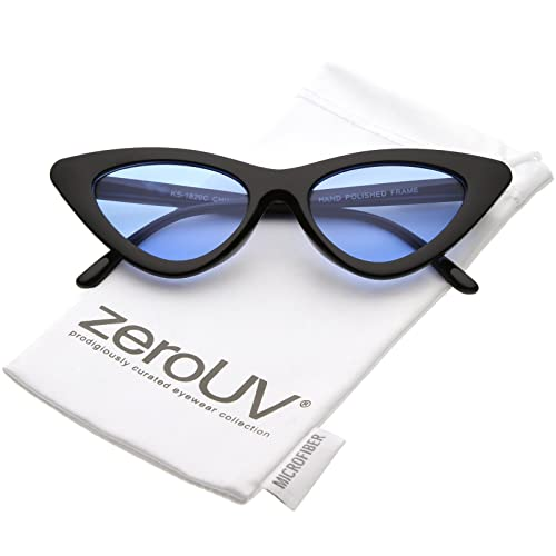 eb44823b54 Womens Exaggerated Slim White Frame Color Tinted Lens Cat Eye Sunglasses  48mm