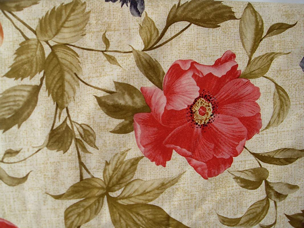 Floral On Beige Flannel Back Vinyl Tablecloths Assorted Sizes Square Oblong And Round 52 X 70 Oblong