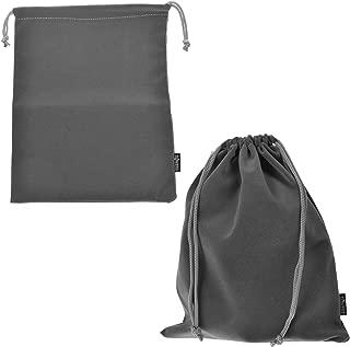 Cosmos Set of 2 Premium Gray Travel Carry Drawstring Headphones Pouch Bag (Gray Color)