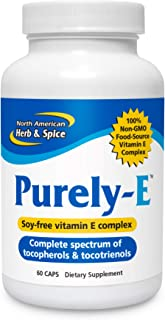 North American Herb & Spice Purely-E - 60 Capsules - Supports Healthy Hair, Skin & Nails - Soy-Free Vitamin E Complex from...