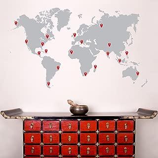 Stickerbrand World Map Wall Decal Sticker w/ 224 Pins - Grey Map w/Red, Black, White & Grey Pins, 60