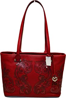 Collectibles Yulia Embossed Leather Shoulder Tote Red