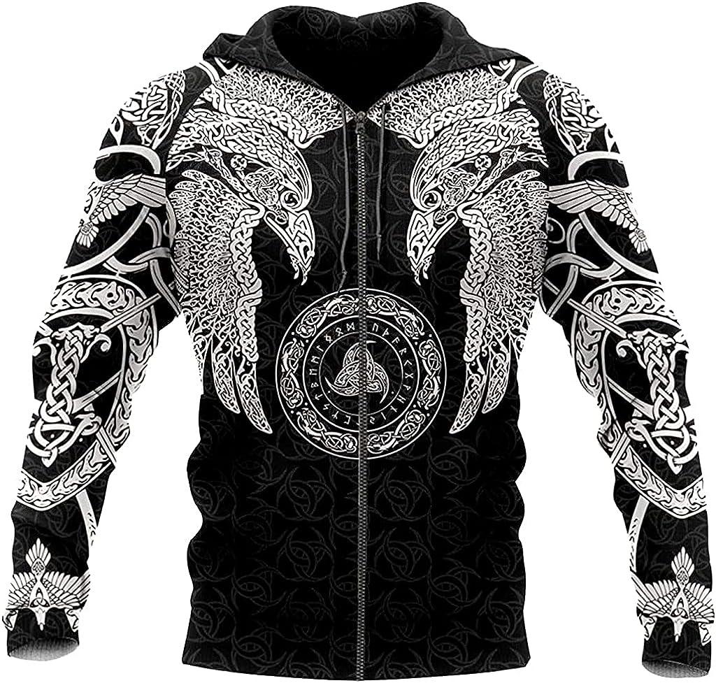 Odin Raven - Hugin & Munin - Men's Zipper Hoodies, 3D Tattoo Print Viking Amulet Quick Dry Long Sleeve Coat
