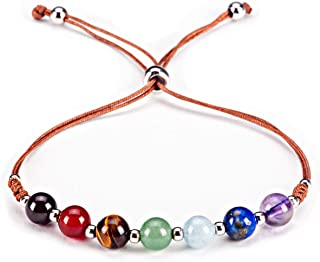 "Cherry Tree Collection Natural Gemstone Chakra Bracelet | Adjustable Size Nylon Cord | 6mm Beads, Silver Spacers | 5""-6.5"" Womens/Girls/Child"