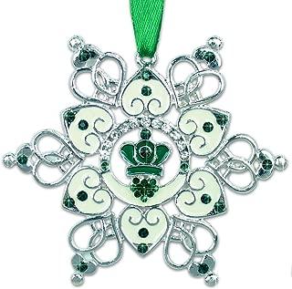 BANBERRY DESIGNS Irish Ornament - Claddagh Ornament - Irish Snowflake Ornament - Filigree Metal and Jewels - Irish Gift