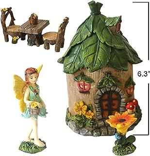 BangBangDa Miniature Fairy Garden Accessories - Small Fairy Figurines Decorations - Fairy House Table Chair Flower Kit for Girl Mini Garden Ornaments (Set of 6)