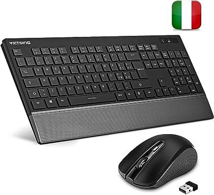 VicTsing Tastiera e Mouse Wireless PC, Kit Mouse e Tastiera Wireless PC Layout Italiano Design Protezione del Polso, per Windows XP/7/8/10/ Mac PS4. Versione Aggiornata Nero