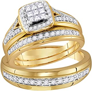 FB Jewels 10kt Yellow Gold His Hers Princess Diamond Cluster Matching Bridal Wedding Ring Band Set 3/4 Cttw