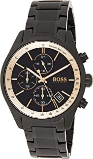 Hugo Boss Men's Black Dial Stainless Steel Band Watch - 1513578