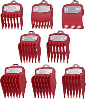 """DATO Professional Premium Cutting Guides Combs (8 Pack) - 1/16"""" to 1"""" – Fits All Full Size Wahl Clippers/Trimmer Great for Barbers and Stylists - Smoother, Safer Cutting - Red"""
