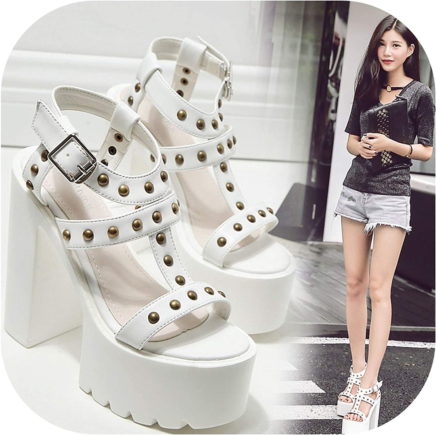 Pink-star 2019 Women Platform Thick Heels Rivets Sandals Fashion Rivets Thick with Hollow High Heel Sandals