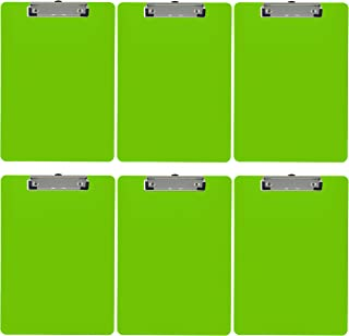 Trade Quest Plastic Clipboard Opaque Color Letter Size Low Profile Clip (Pack of 6) (Lime Green)