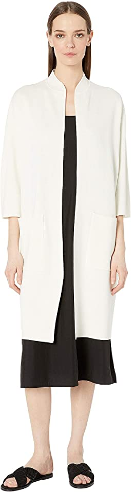 Silk & Organic Cotton Interlock High Collar 3/4 Sleeve Long Jacket