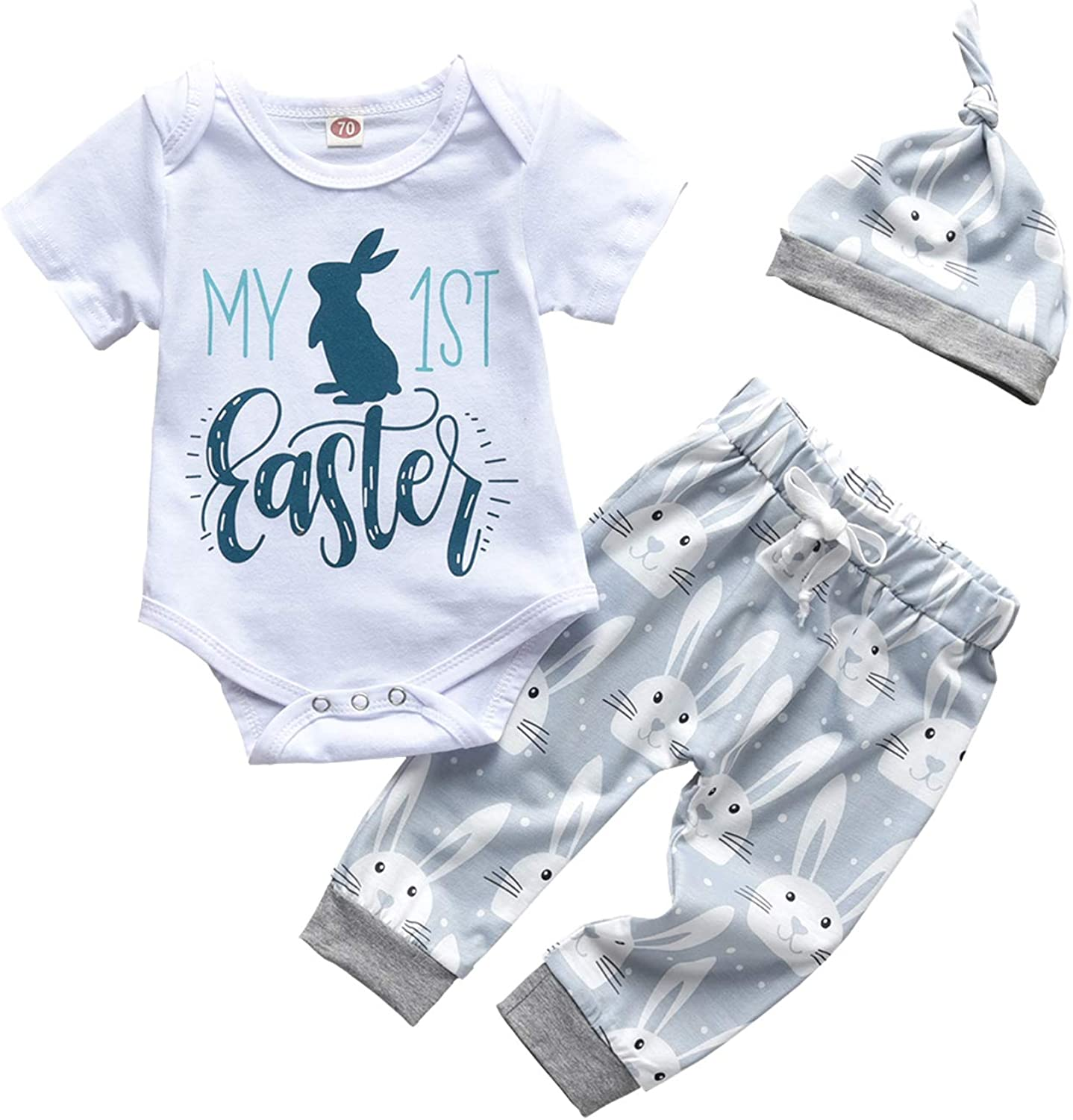 Newborn Baby Boy Girl My First Easter Outfits Bunny Romper Short Sleeve Bodysuit Rabbit Pants and Hat 3Pcs Clothes Set