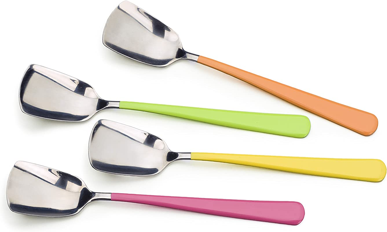 RSVP Endurance Stainless Steel Ice Cream Spoon With Colorful Handle Set Of 4