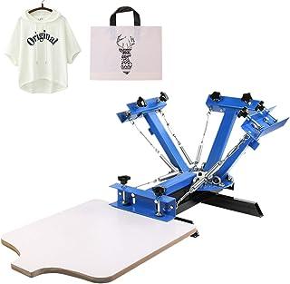 VEVOR Machine d'impression d'écran 4 couleurs, Presse de sérigraphie de 1 station, Structure métallique Dispositif à resso...