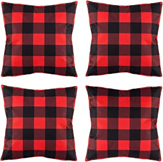 peony man Christmas Red Black Buffalo Plaids Pillow Covers Cotton Linen Throw Pillow Cushion Pillowcase for Sofa, Car, Office, Home Decoration, 18 x 18 Inch