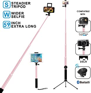 Bluetooth Selfie Stick with Tripod, Remote 59Inch MFW Extendable Monopod with Tripod Stand for iPhone X/XS max/XR/8/7/6/Plus,iPad,Samsung S9 S7/S8, LG, Google Pixel Android,GoPro Cameras (Rose Gold)