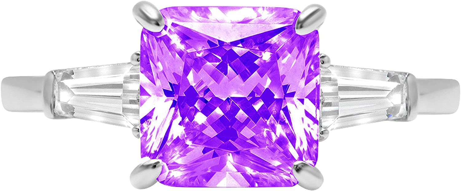 3.50 ct Asscher Baguette cut 3 stone Solitaire with Accent Natural Purple Amethyst Gem Stone Ideal VVS1 Engagement Promise Statement Anniversary Bridal Wedding Ring 14k White Gold