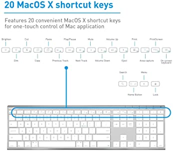 Macally Wireless Bluetooth Keyboard with Numeric Keypad for Laptops, Computers (Apple: Mac, iMac, MacBook Pro/Air, iO...