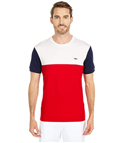 Lacoste Short Sleeve Striped Color-Block T-Shirt (Red/Flour/Navy Blue) Men