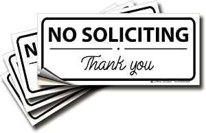No Soliciting Signs Stickers for House, Home & Business – 4 Pack 7x3 inch – Premium Self-Adhesive Vinyl, Laminated for Ultimate UV, Weather, Scratch, Water and Fade Resistance, Indoor & Outdoor
